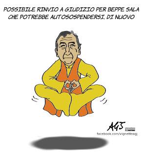 Beppe Sala, autosospensione, rinvio a giudizio, MIlano, expo, vignetta, satira