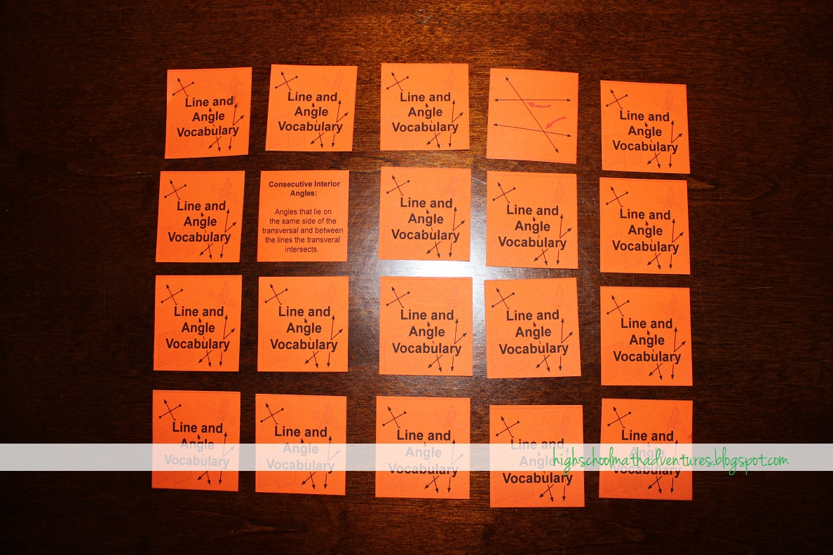 High School Math Adventures With Mrs B Vocabulary Match Game