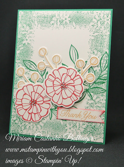 Miriam Castanho-Bollinger, #mstampinwithyou, stmapin up, demonstrator, dsc, thank you, falling flowers stamp set, touches of texture, gift of love stamp set, big shot, may flowers framelit, su