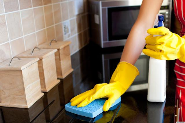 scrubing the cupboard