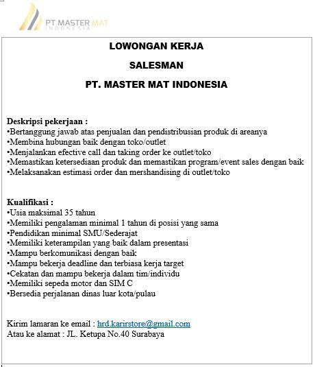 lowongan kerja salesman PT Master Mat Indonesia