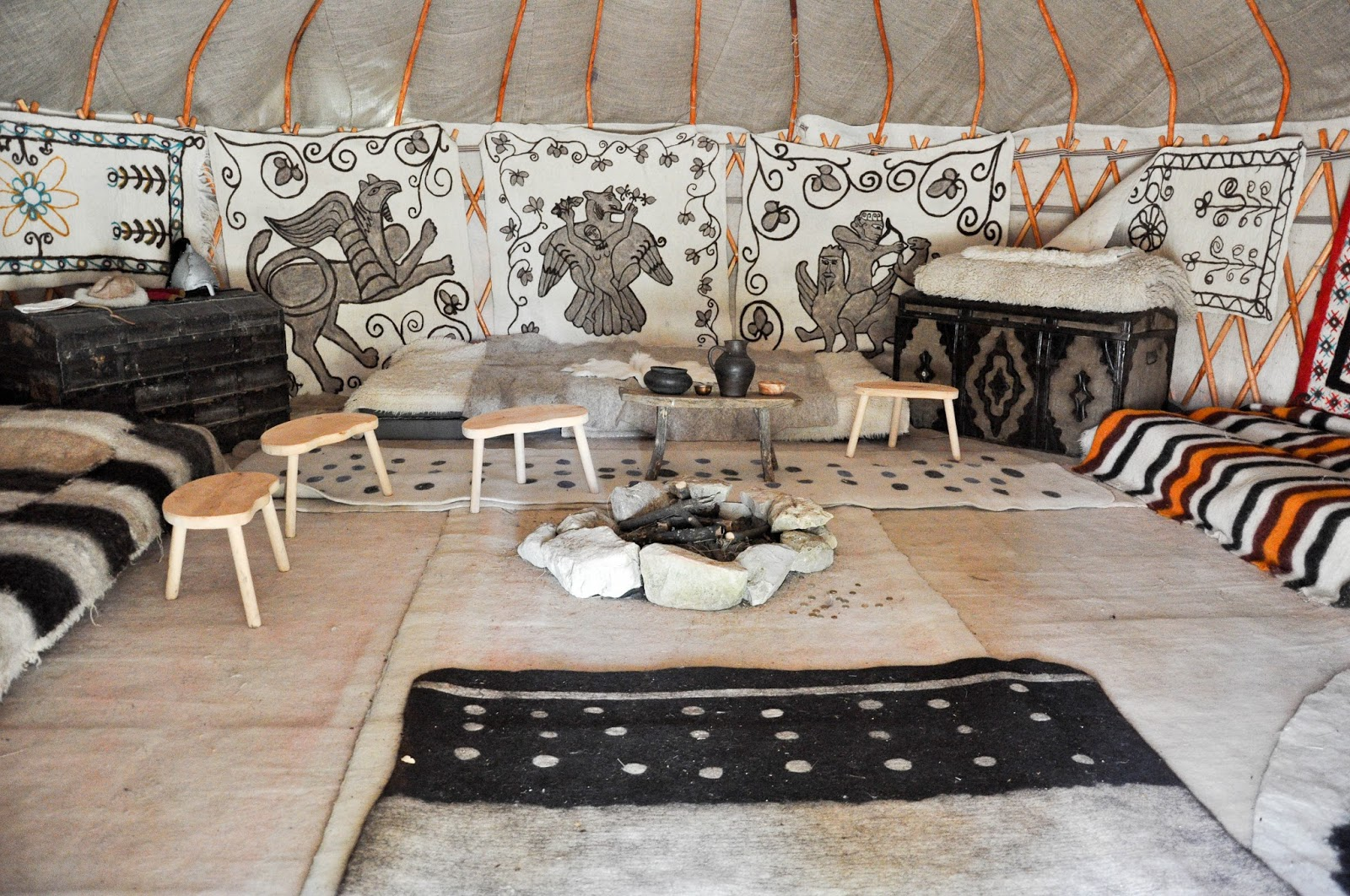 Inside the yurt, Pliska, Bulgaria