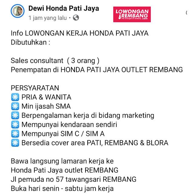 3 Lowongan Kerja Sales Consultant Honda Pati Jaya Rembang