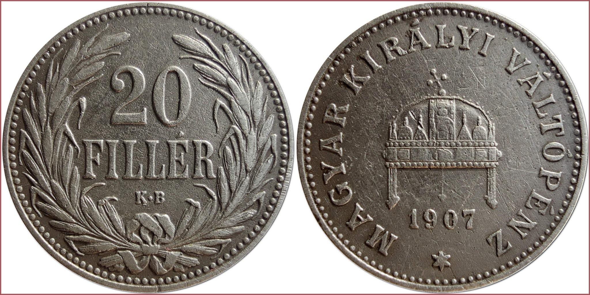 20 filler (fillér), 1907: Kingdom of Hungary