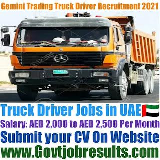 Gemini Trading Group Truck Driver Recruitment 2021-22