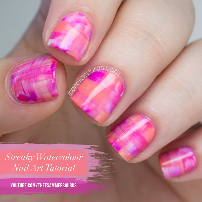 Streaky Watercolour Nail Art Tutorial // The Nailasaurus YouTube