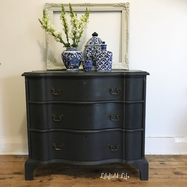 a french commode painted in ASCP Graphite by Lilyfield Life