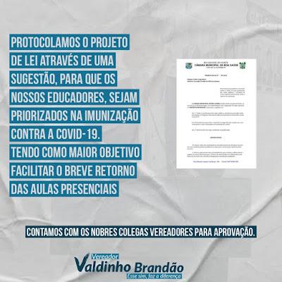 Vereador Valdinho requer VACINAÇÃO DE PROFESSORES