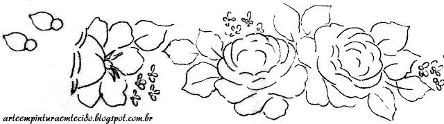 risco de rosas barrado toalha