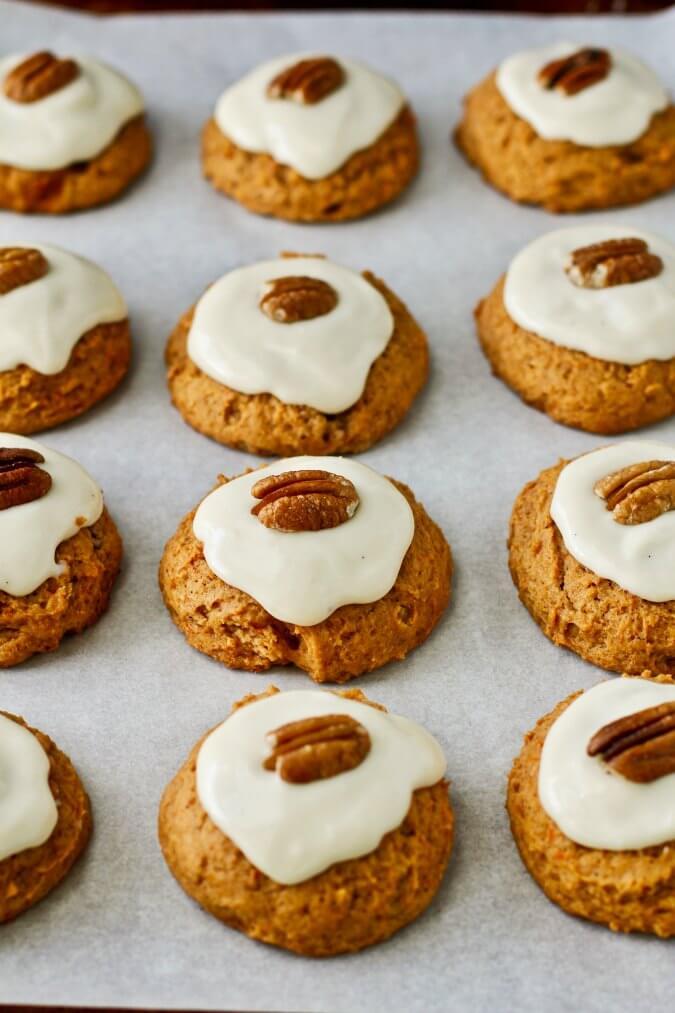 Sweet Potato Pecan Cookies on a baking sheet