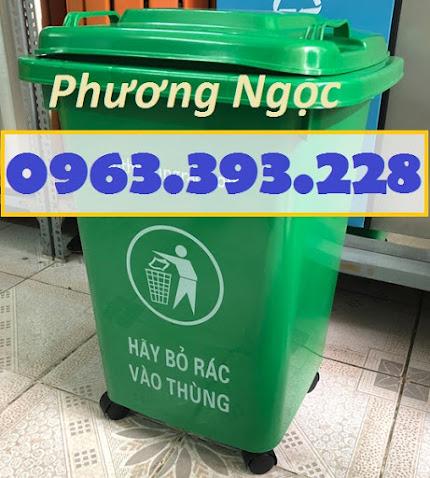 Thùng rác 60L nhựa HDPE, thùng rác 60 Lít nắp kín, thùng rác đạp chân NK60L2