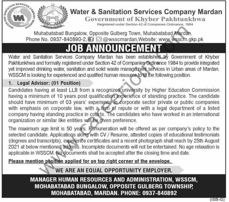 Water & Sanitation Services Company Jobs Legal Advisor