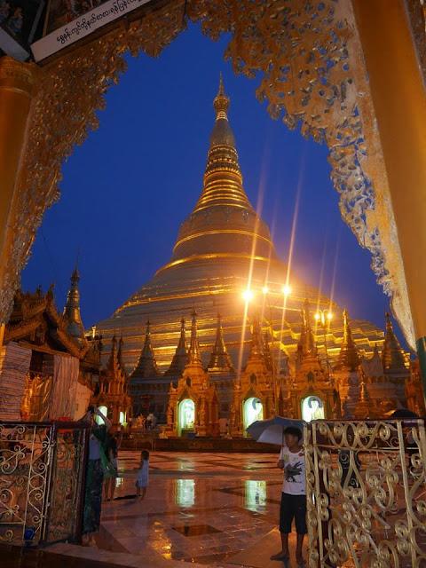 golden pagoda at night, Yangon, Myanmar (Burma)