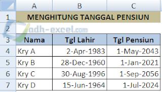 Menghitung Tanggal Pensiun di Excel