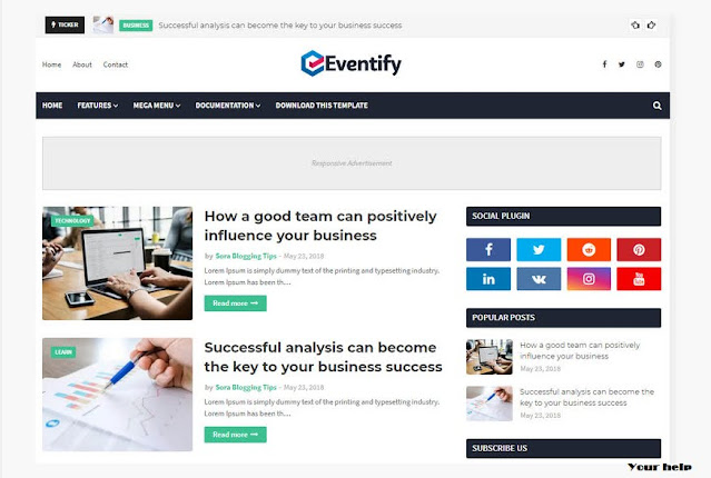 Eventify Responsive Template, Top 10 Blogger Responsive Template, Blogger Free Template, Blogger Template 2020