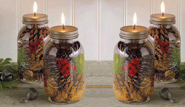 Lowes Xmas Lights DIY: Mason Jar Oil Candles for Christmas