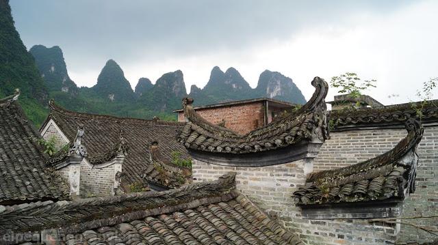 Yu cun, Xingping, pueblo pescador, tejados