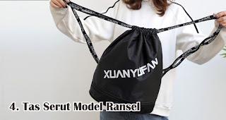 Tas Serut Model Ransel merupakan salah satu jenis dan model tas serut untuk dijadikan souvenir