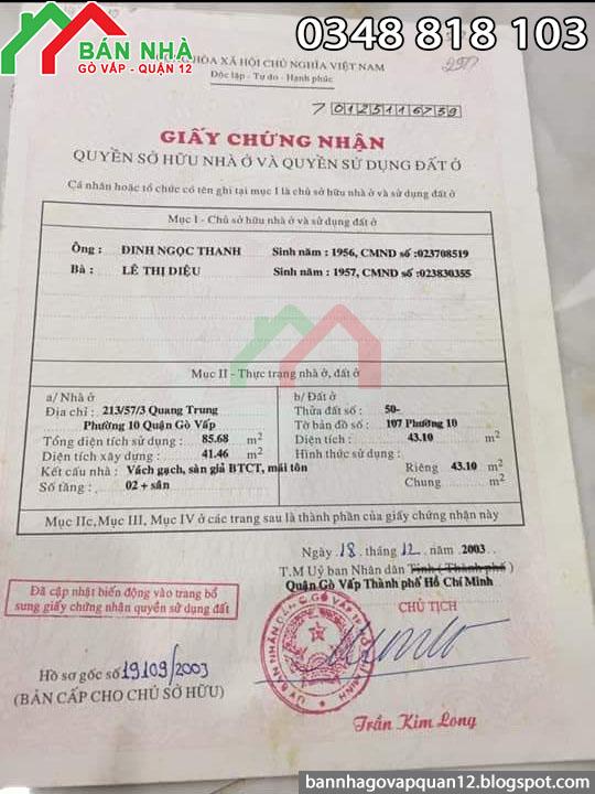 Bán Nhà Hẻm Quang Trung Phường 10 Gò Vấp