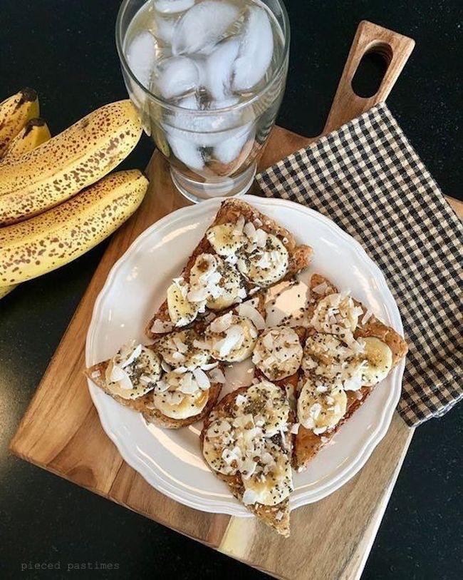 Vegan Loaded Toast 6 Ways, Almond Butter and Banana Toast, Vegan Toast, #ttoasttuesday