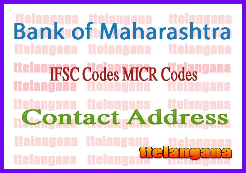 Bank of Maharashtra IFSC Codes MICR Codes in India