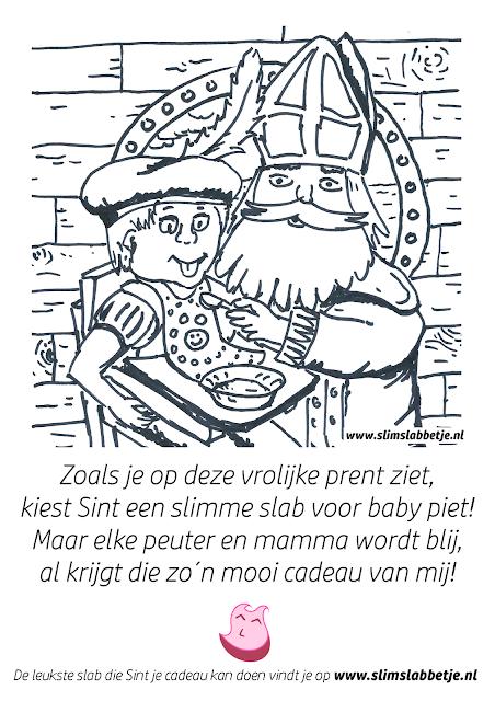 Slim Slabbetje Sinterklaas kleurplaat - Sint voert een pietje.
