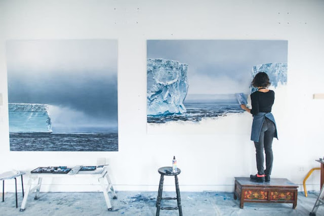 The artist working on pieces for her upcoming exhibition. Photo: Quinn Miller-Bedell
