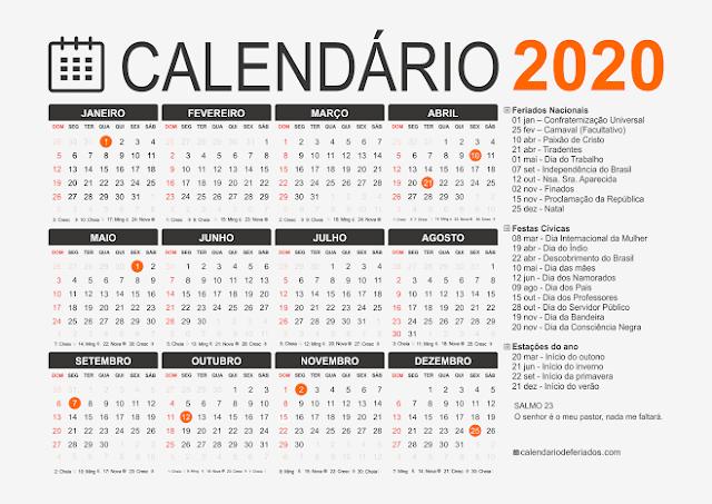 Calendário de 2020 terá 9 feriados nacionais; muitos cairão perto do fim de semana