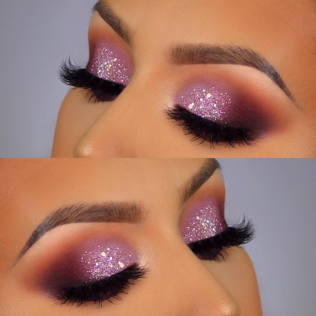 Maquiagem sombra glitter rosa carnaval
