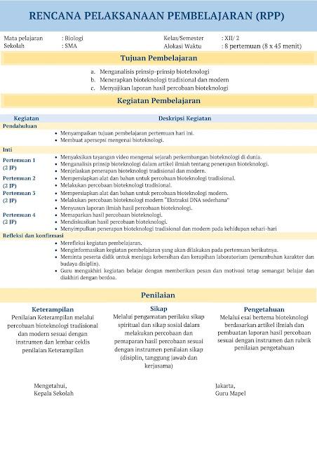 RPP 1 Lembar SMA Biologi Kelas XII Tahun 2020-2021