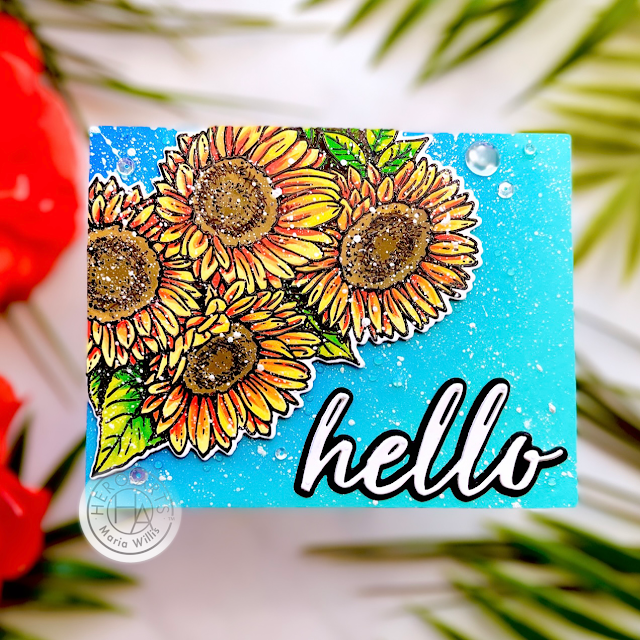 Cardbomb,maria willis,Hero Arts,My Monthly Hero September 2021,#sunflower,cards,cardmaking,stamps,stamping,art,diy,paper,papercraft,nuvo,create,handmade,foiling,die cutting,
