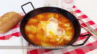 Patatas Cocidas con Tomate Frito y Huevo Cuajado