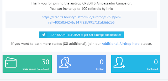 Credits Airdrop 30 stake - 30 CS