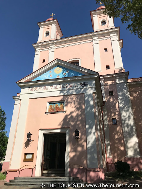 The pastel facade of the Orthodox Church of the Holy Spirit in Vilnius in Lithuania