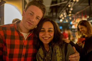 image of me (Leyla Kazim) with Jamie Oliver - Jamie Oliver's granola dust breakfast recipe