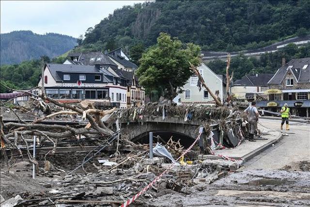 Destruction after floods in Rhineland-Palatinate, Germany, July 19, 2021. Photo: AFP