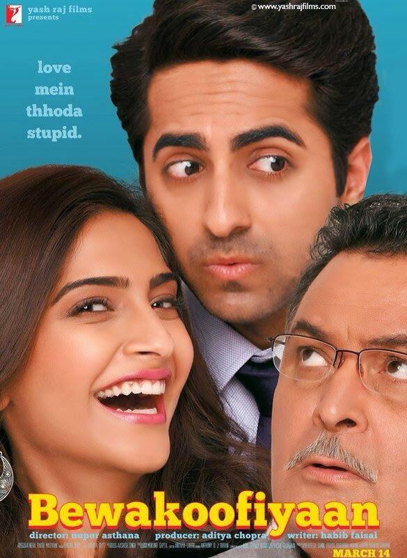 Sonam Kapoor, Ayushmann Khurrana and Rishi Kapoor in Official poster of Bollywood movie Bewakoofiyaan