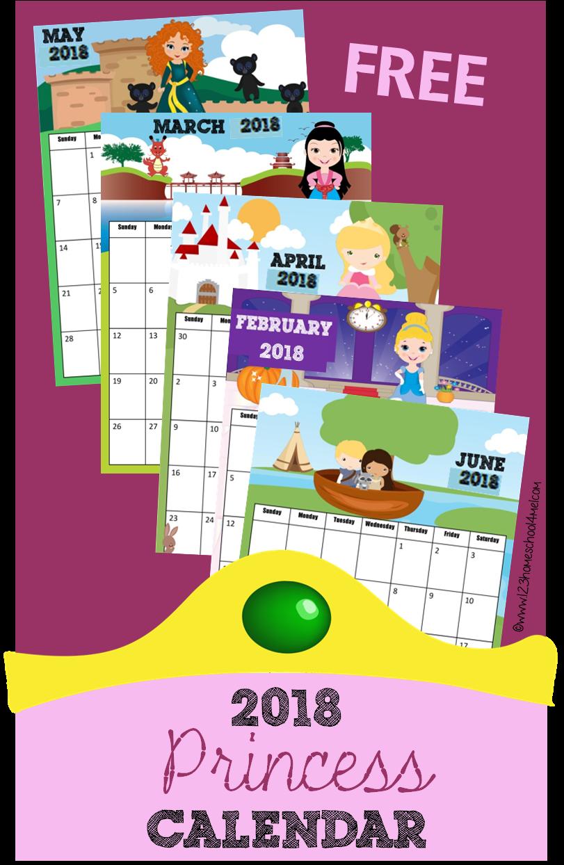 Calendar Kids 2018 : Free printable princess calendar