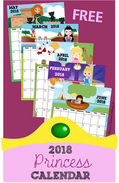 FREE 2018 Printable Princess Calendar - this printable calendar 2018 is free and perfect for helping preschool, kindergarten, first grade, 2nd grade, and older kids write down assignments and learn about days, months and years or writing down monthly or weekly assignments. Kids will love the super cute Disney Princess inspired theme!