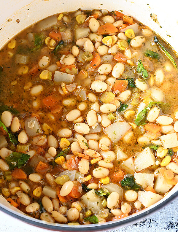close look of white bean vegetable soup