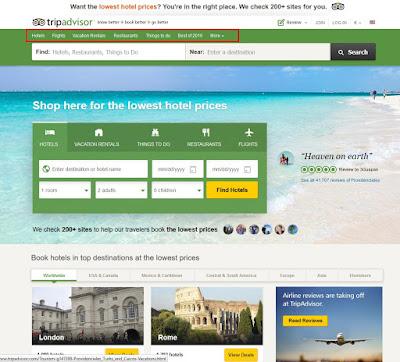 Tripadvisor.com muestra una organización de contenidos que prioriza lo principal
