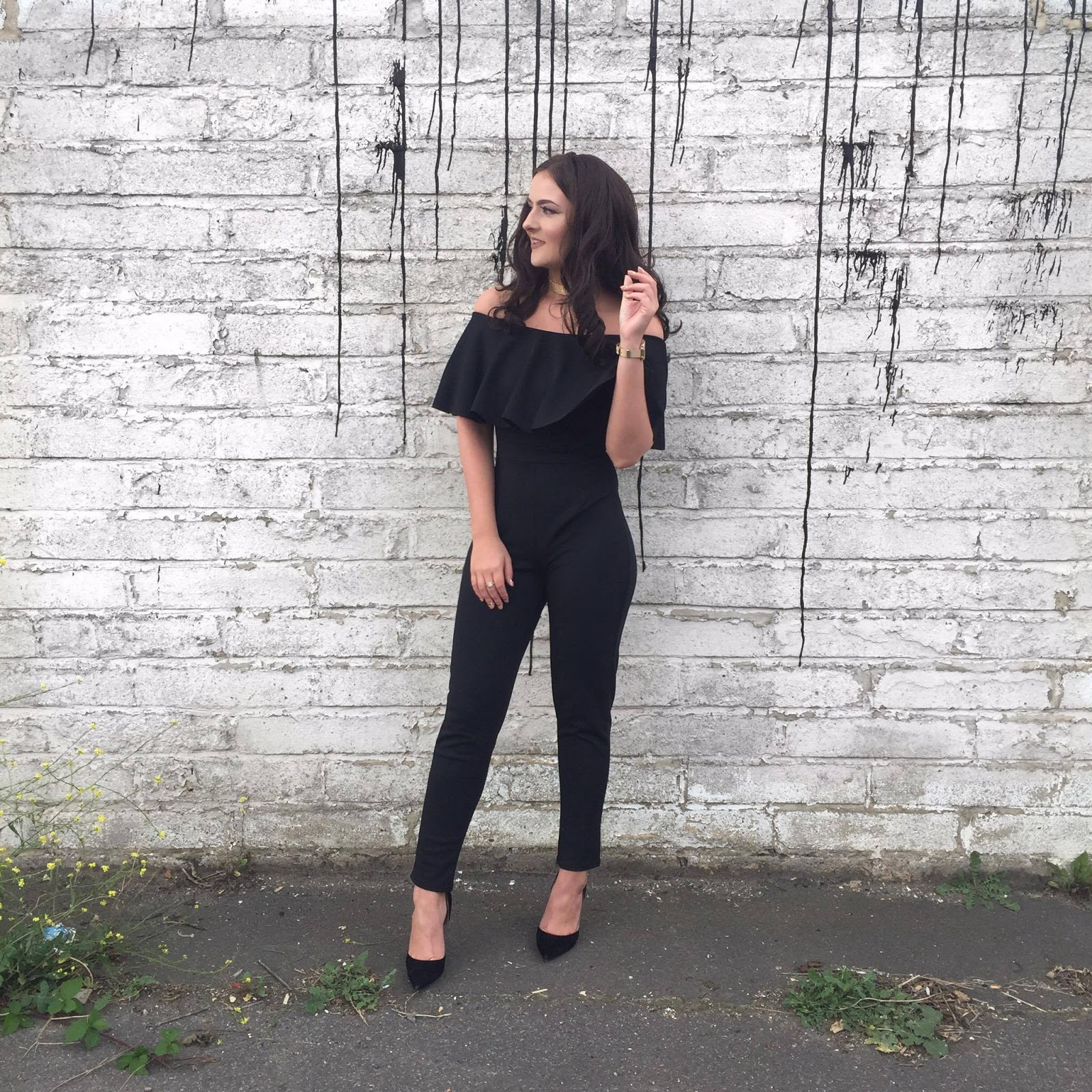 Quiz Clothing Black Bardot Jumpsuit