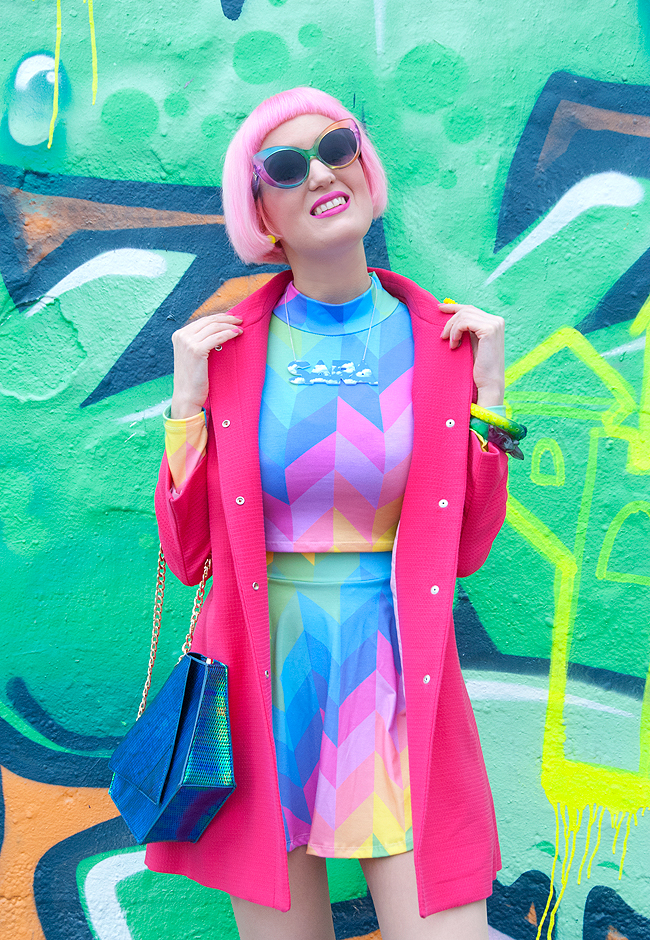 minga london, rainbow outfit, crop top