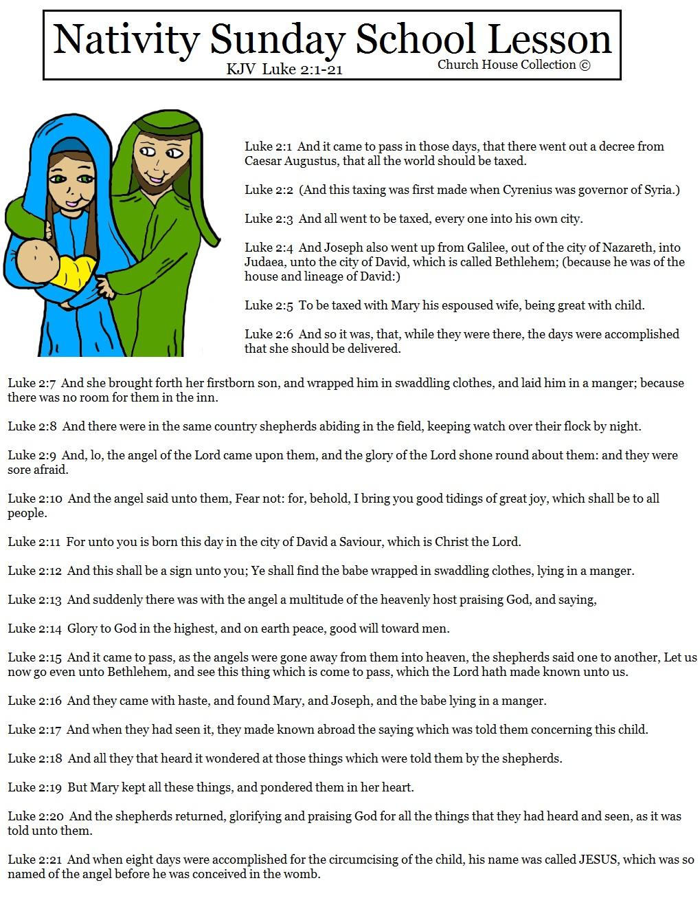 Church House Collection Blog: Nativity Sunday School Lesson