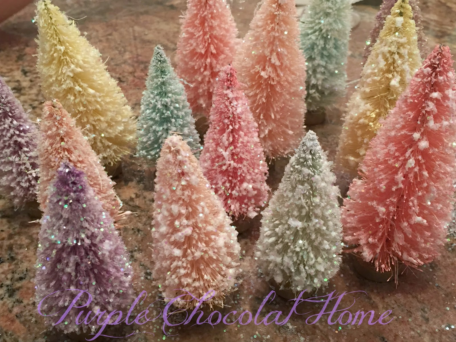 Glittering Bottle Brush Easter Trees