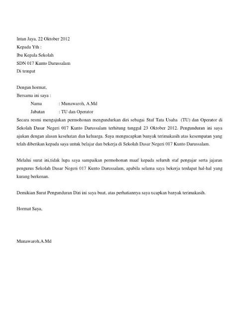 Contoh Surat Pengunduran Diri dari Sekolah (via: madreview.net)