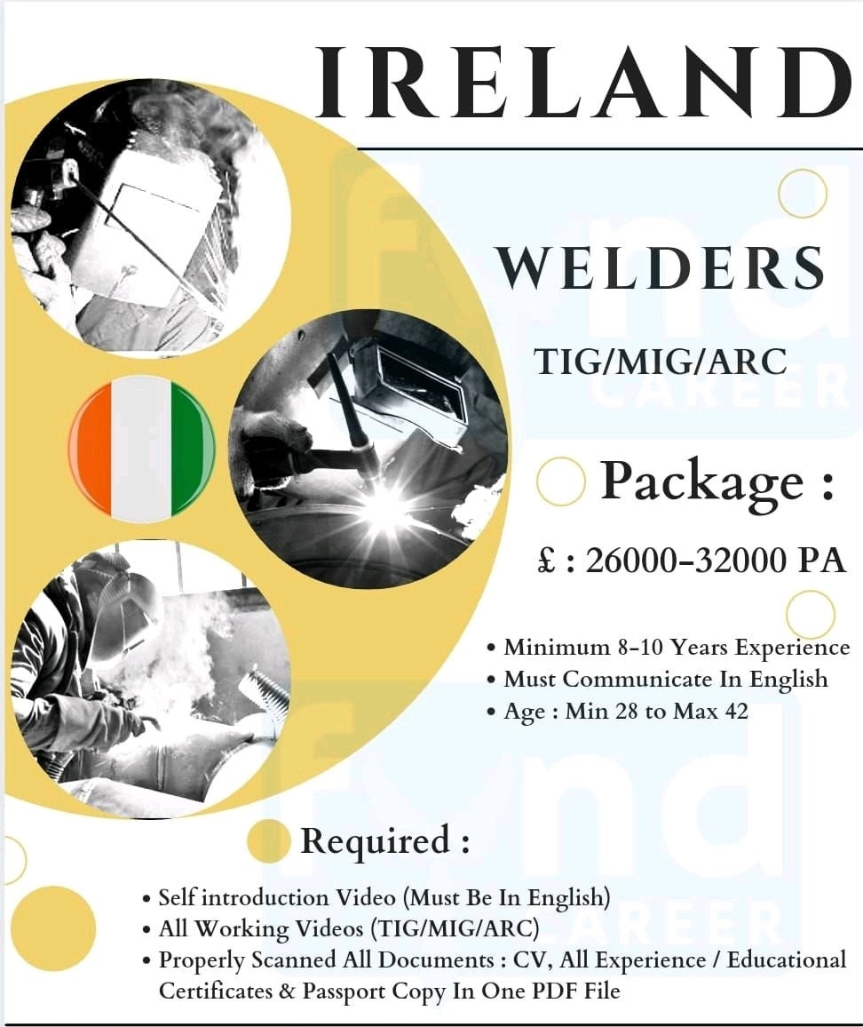 10th Pass, ITI and Diploma Candidates Jobs Opportunity In Ireland