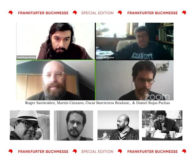 Mesa dedicada a Enrique Lihn en Frankfurter Buchmesse 2020: Participan Daniel Rojas Pachas, Roger Santiváñez, Martín Cinzano y Óscar Barrientos