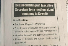 Required Bilingual Executive  Secretary for a medium sized  company in Kuwait
