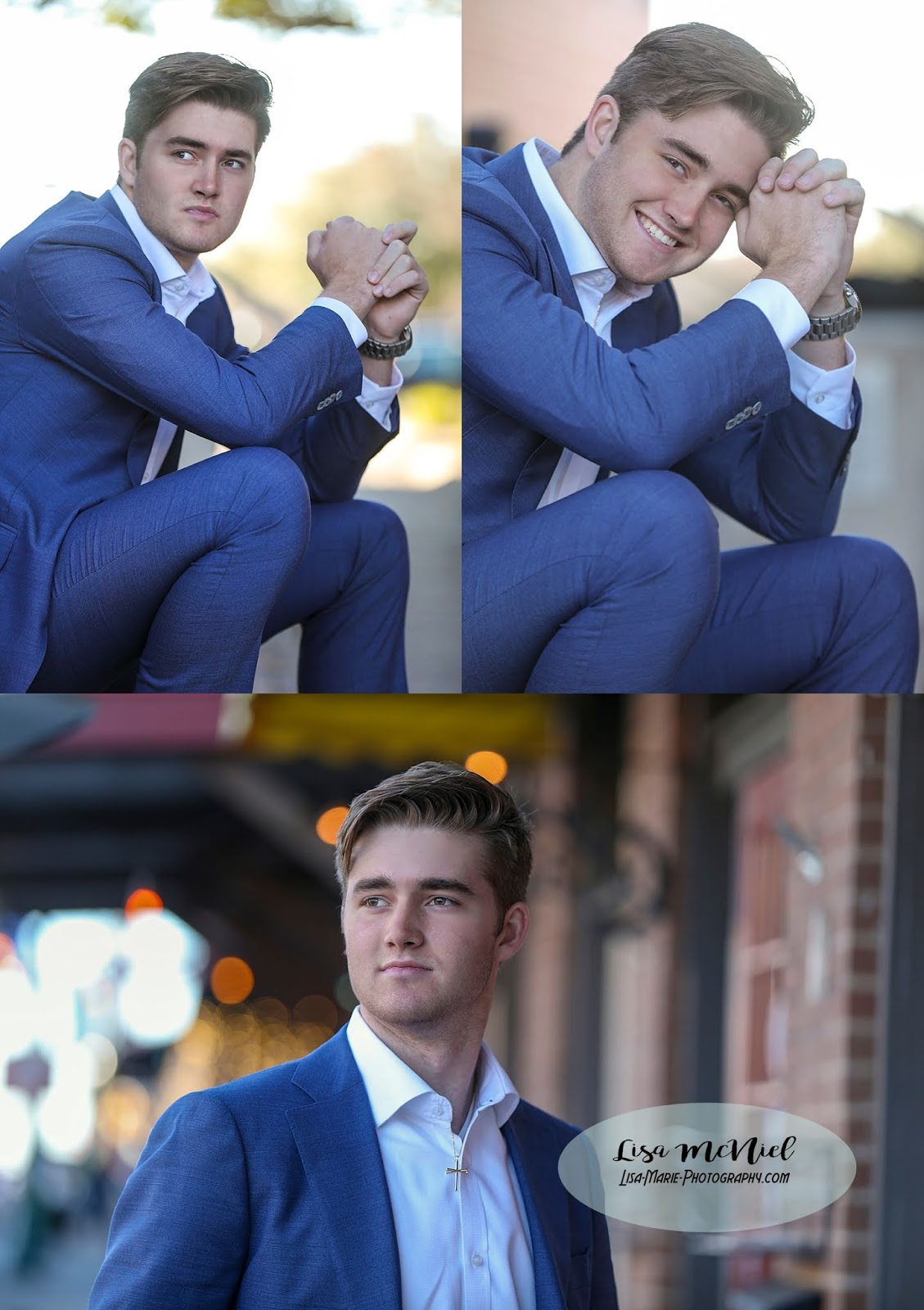 handsome young man in suit in city urban setting